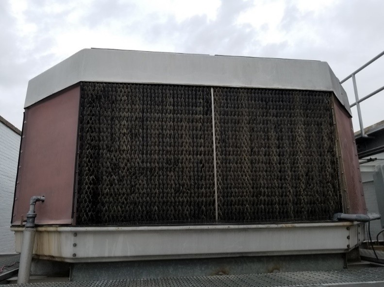 cooling tower with a HydroFLOW unit installed for legionella control